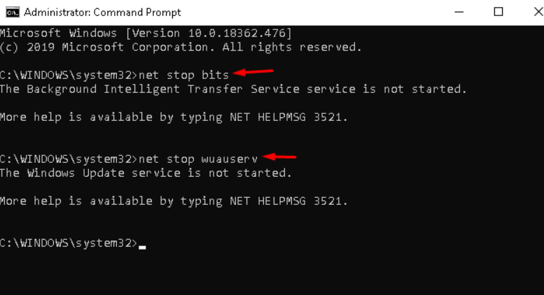 command prompt as the administrator